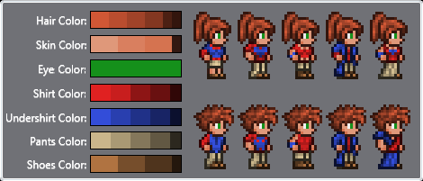 Character Color Layout